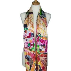Mosaic Designer Soft Mulberry Satin Silk Scarf